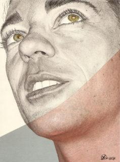 Manuel, matita pastelli e stampa su carta - 2007